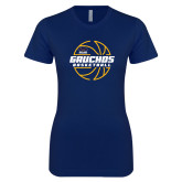 Next Level Ladies SoftStyle Junior Fitted Navy Tee-Gauchos Basketball Lined Ball