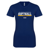 Next Level Ladies SoftStyle Junior Fitted Navy Tee-Softball Stencil