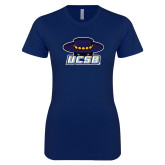 Next Level Ladies SoftStyle Junior Fitted Navy Tee-Primary