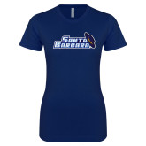 Next Level Ladies SoftStyle Junior Fitted Navy Tee-Santa Barbara with Hat