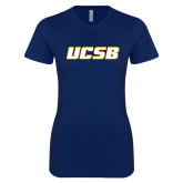 Next Level Ladies SoftStyle Junior Fitted Navy Tee-UCSB