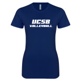 Next Level Ladies SoftStyle Junior Fitted Navy Tee-Volleyball