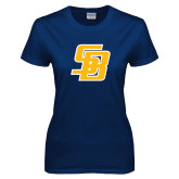 Ladies Navy T Shirt-Interlocking SB