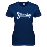 Ladies Navy T Shirt-Gauchos Script