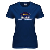 Ladies Navy T Shirt-Dare to be Great