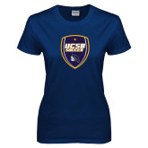 Ladies Navy T Shirt-UCSB Soccer Shield