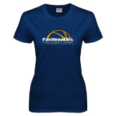 Ladies Navy T Shirt-Fastbreakers Ticket and Legacy Holders