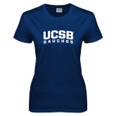 Ladies Navy T Shirt-Arched UCSB Gauchos