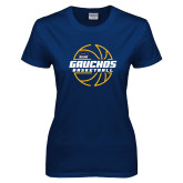 Ladies Navy T Shirt-Gauchos Basketball Lined Ball