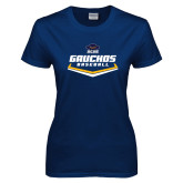 Ladies Navy T Shirt-Gauchos Baseball Plate