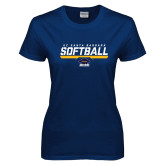 Ladies Navy T Shirt-Softball Stencil