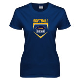 Ladies Navy T Shirt-Softball Plate