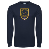 Navy Long Sleeve T Shirt-Soccer Shield