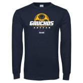 Navy Long Sleeve T Shirt-Gauchos Soccer Stacked