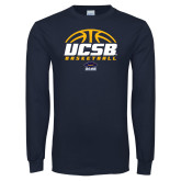 Navy Long Sleeve T Shirt-UCSB Basketball Half Ball