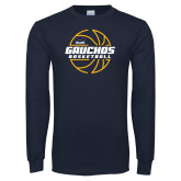 Navy Long Sleeve T Shirt-Gauchos Basketball Lined Ball