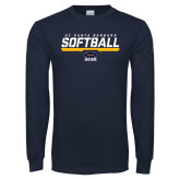 Navy Long Sleeve T Shirt-Softball Stencil
