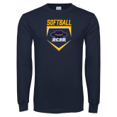 Navy Long Sleeve T Shirt-Softball Plate
