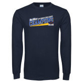 Navy Long Sleeve T Shirt-Track and Field Shoe Design