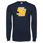 Navy Long Sleeve T Shirt-Interlocking SB