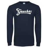 Navy Long Sleeve T Shirt-Gauchos Script
