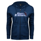 ENZA Ladies Navy Fleece Full Zip Hoodie-Santa Barbara with Hat