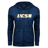 ENZA Ladies Navy Fleece Full Zip Hoodie-UCSB