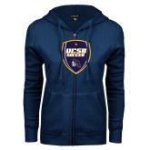 ENZA Ladies Navy Fleece Full Zip Hoodie-UCSB Soccer Shield