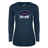 Ladies Syntrel Performance Navy Longsleeve Shirt-Primary