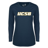 Ladies Syntrel Performance Navy Longsleeve Shirt-UCSB