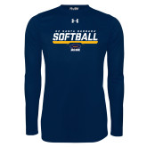 Under Armour Navy Long Sleeve Tech Tee-Softball Stencil