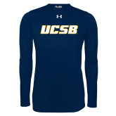 Under Armour Navy Long Sleeve Tech Tee-UCSB