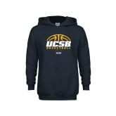 Youth Navy Fleece Hoodie-UCSB Basketball Half Ball