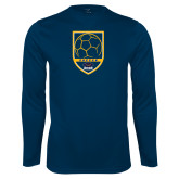 Performance Navy Longsleeve Shirt-Soccer Shield