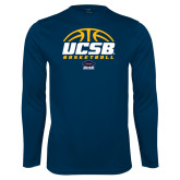 Performance Navy Longsleeve Shirt-UCSB Basketball Half Ball