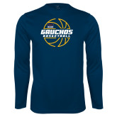 Performance Navy Longsleeve Shirt-Gauchos Basketball Lined Ball