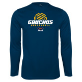 Performance Navy Longsleeve Shirt-Gauchos Volleyball Half Ball