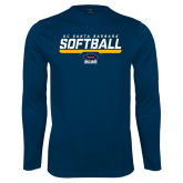 Performance Navy Longsleeve Shirt-Softball Stencil