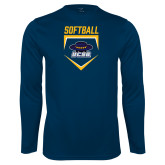 Performance Navy Longsleeve Shirt-Softball Plate
