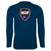 Performance Navy Longsleeve Shirt-UCSB Soccer Shield