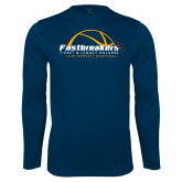 Performance Navy Longsleeve Shirt-Fastbreakers Ticket and Legacy Holders