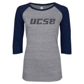 ENZA Ladies Athletic Heather/Navy Vintage Baseball Tee-UCSB Graphite Glitter