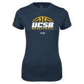 Ladies Syntrel Performance Navy Tee-UCSB Basketball Half Ball