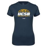 Ladies Syntrel Performance Navy Tee-UCSB Basketball Half Ball