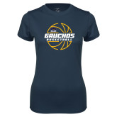Ladies Syntrel Performance Navy Tee-Gauchos Basketball Lined Ball