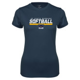 Ladies Syntrel Performance Navy Tee-Softball Stencil