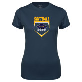 Ladies Syntrel Performance Navy Tee-Softball Plate