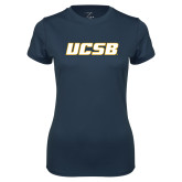 Ladies Syntrel Performance Navy Tee-UCSB