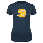 Ladies Syntrel Performance Navy Tee-Interlocking SB