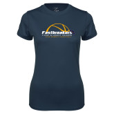 Ladies Syntrel Performance Navy Tee-Fastbreakers Ticket and Legacy Holders